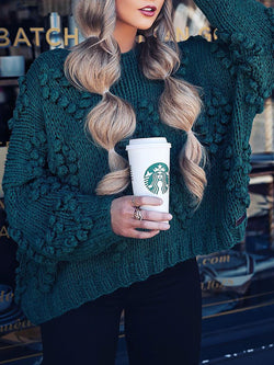 Bubble Knitted Sweaters Plus Size Pullovers Jumpers