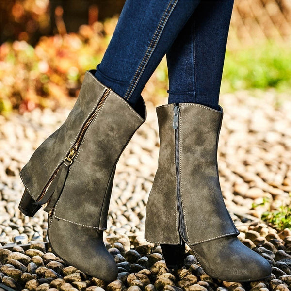 Women Classic Booties Casual Chunky Heel Artificial Leather Boots Zipper Plus Size Shoes