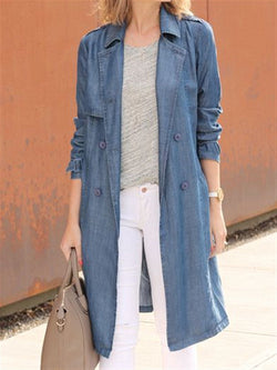 Casual Basic Daily Plus Size Denim Long Coat