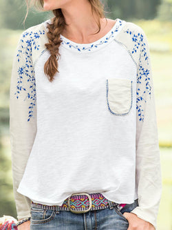 White Long Sleeve Round Neck Cotton-Blend Printed Shirts & Tops