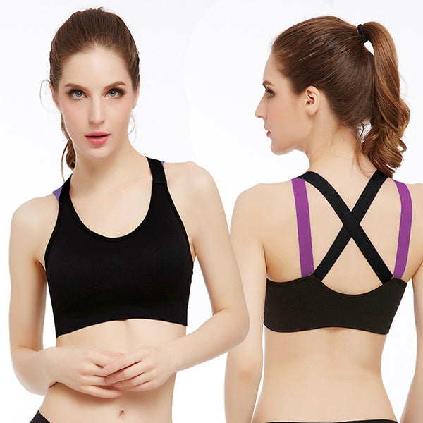 Angelvic Wireless Seamless Shockproof Cross Straps Yoga Sports Bras