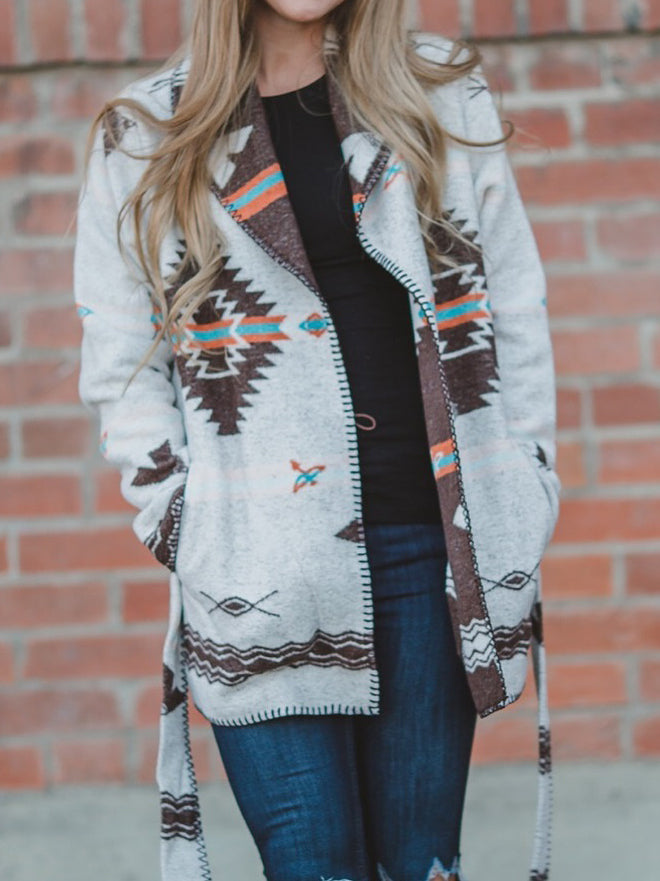 Boho Long Sleeve Geometric Outerwear