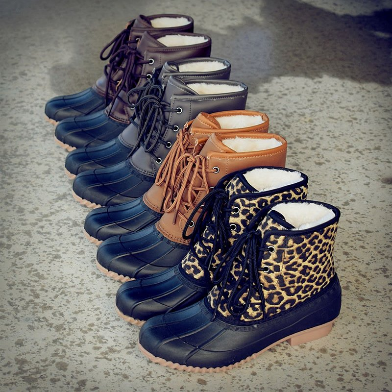 Women Fur Lined Duck Boots Shoes