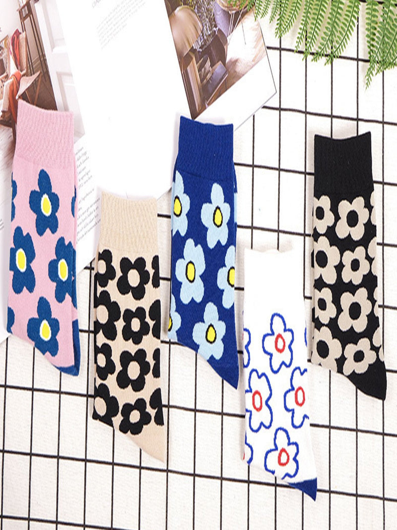 Statement Floral Breathable Cotton Casual Socks