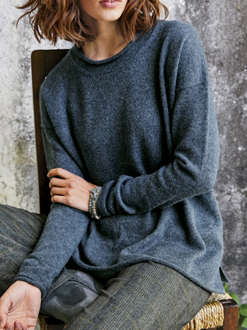 Deep Gray Paneled Long Sleeve Sweater