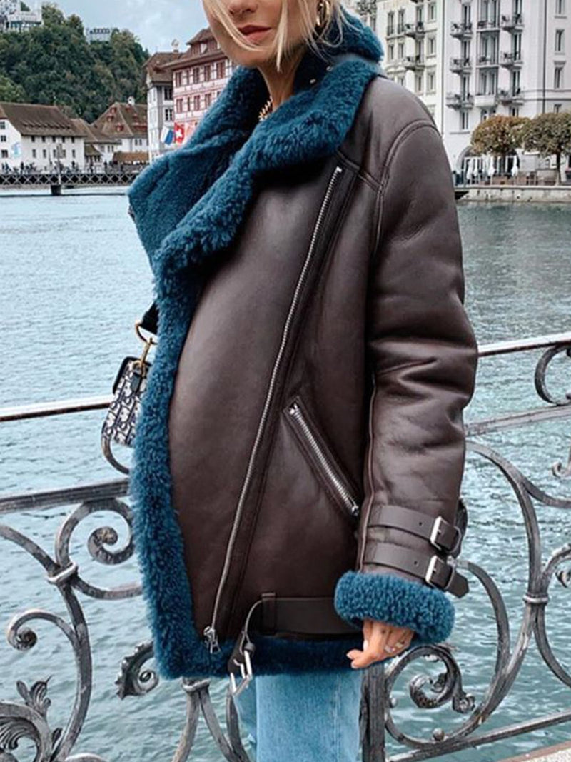 Plus size thick lamb coat Casual Cotton Outerwear