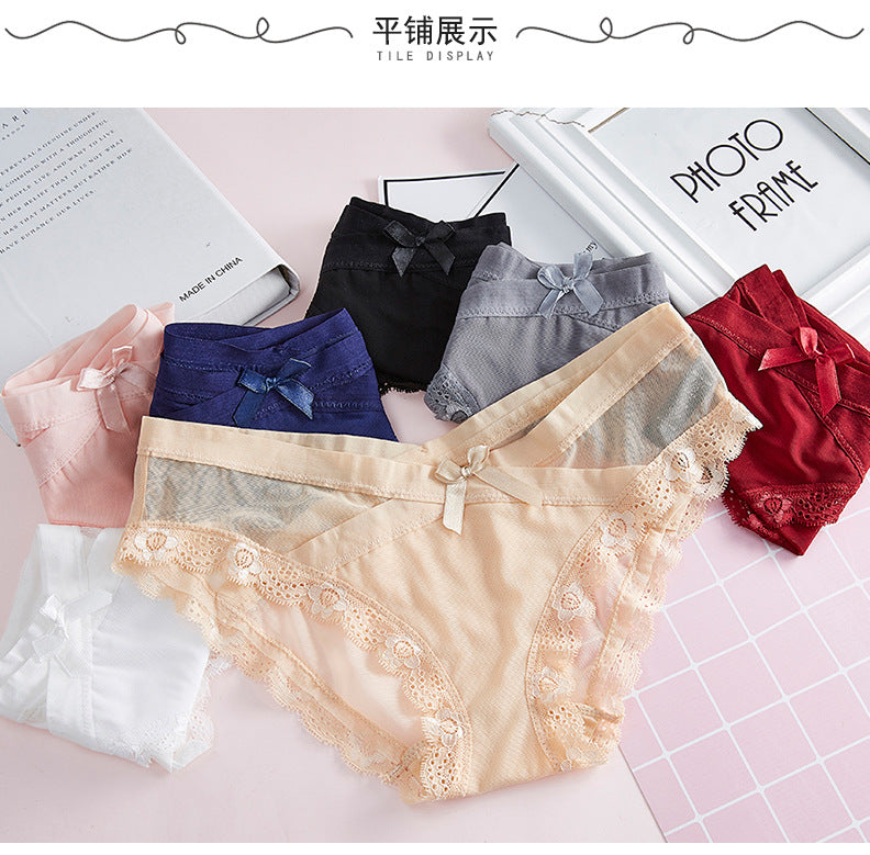 Sexy Lace Printed Cotton Cross Crotch Tummy Waisted Briefs