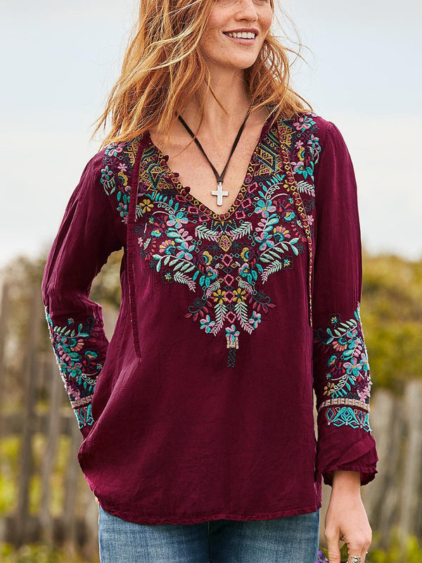 Floral-Embroidered Casual Shirts & Tops