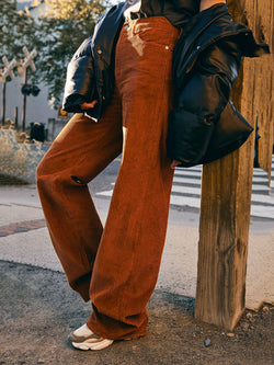 Brown Paneled Casual Cotton-Blend Pants