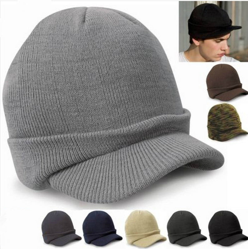 Multi-color wool knitted warm cap