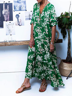 Green Cotton Casual V Neck Dresses
