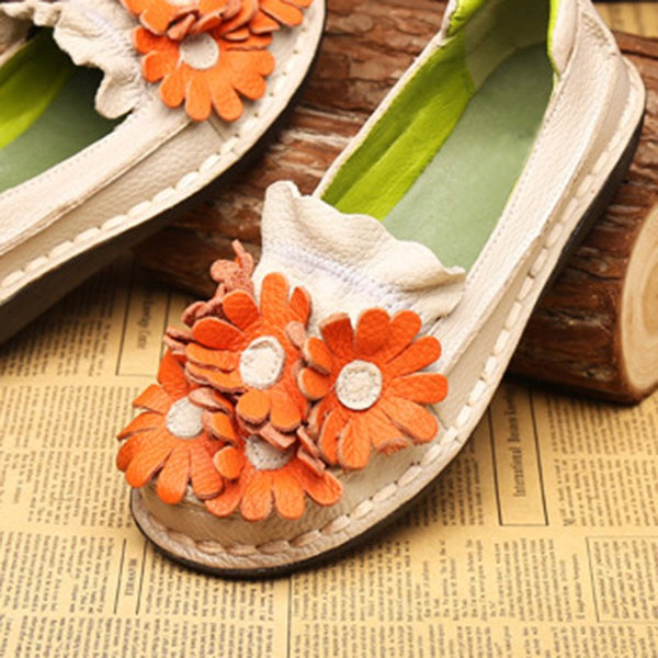 Women Comfy Flower Handmade Flat Shoes