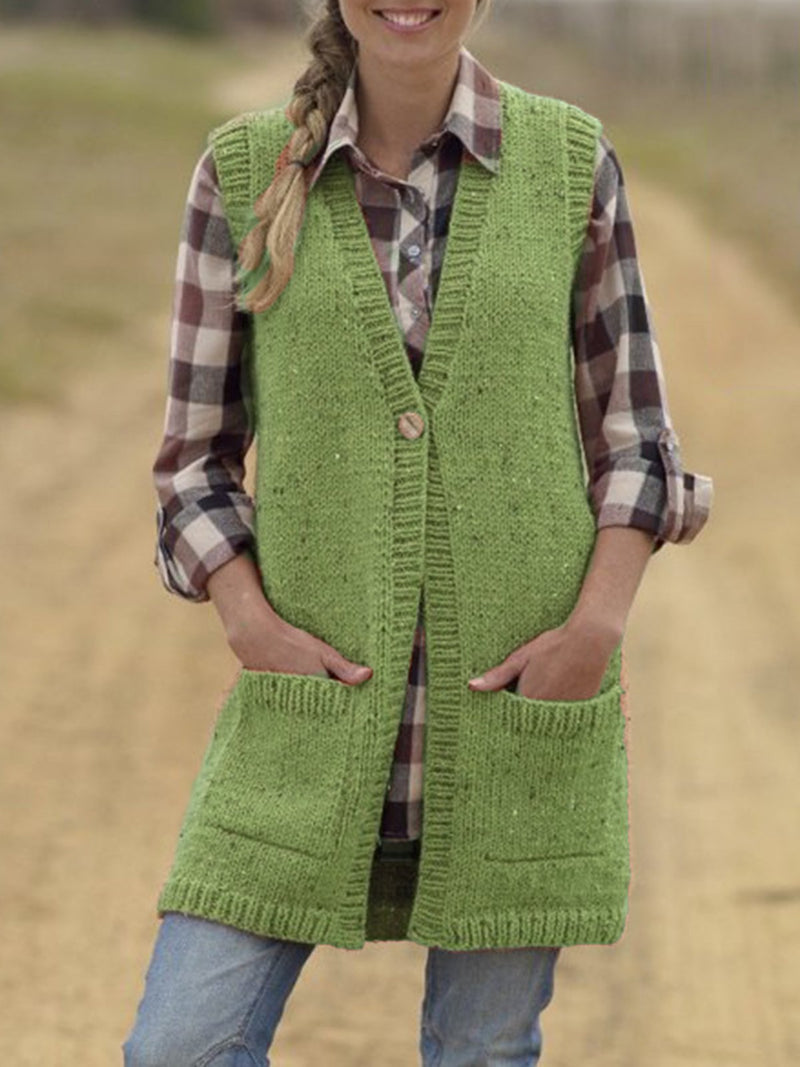 Buttoned Sleeveless Solid Vintage Sweater