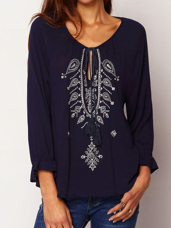 Deep Blue Cotton Boho Shift Tribal Shirts & Tops