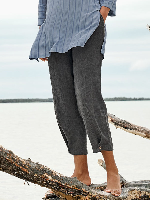 Solid  Casual Linen Pant
