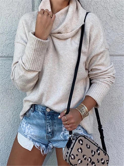 Beige Long Sleeve Cotton Turtleneck Sweater