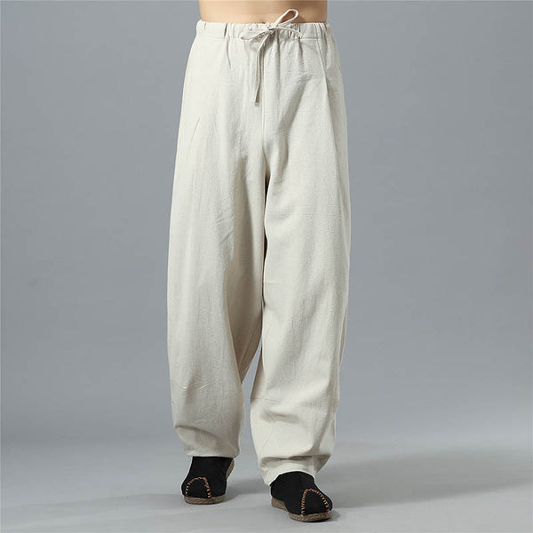 SIGNFAITH Men's Loose Linen Pants