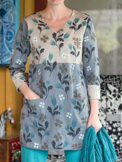 Floral Cotton Holiday Long Sleeve Shirts & Tops