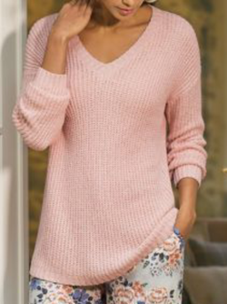 Plus size Solid Knitted Long Sleeve Sweater
