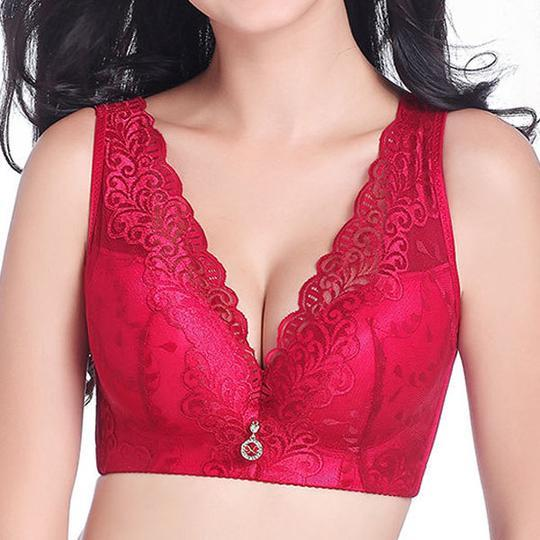 Nightcup Sexy Deep V Gather Breathable Wireless Full Coverage Bras (Pink)