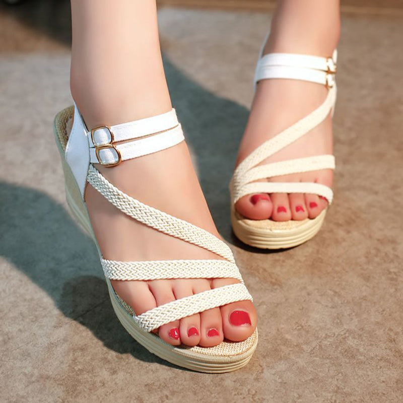 Women Casual PU Wedges Elastic Band Platform Sandals