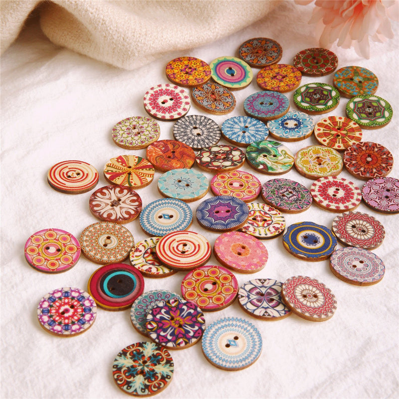 50Pcs 25mm Round Sewing Multicolor Wooden Buttons for DIY Craft Bag Hat Clothes Decoration