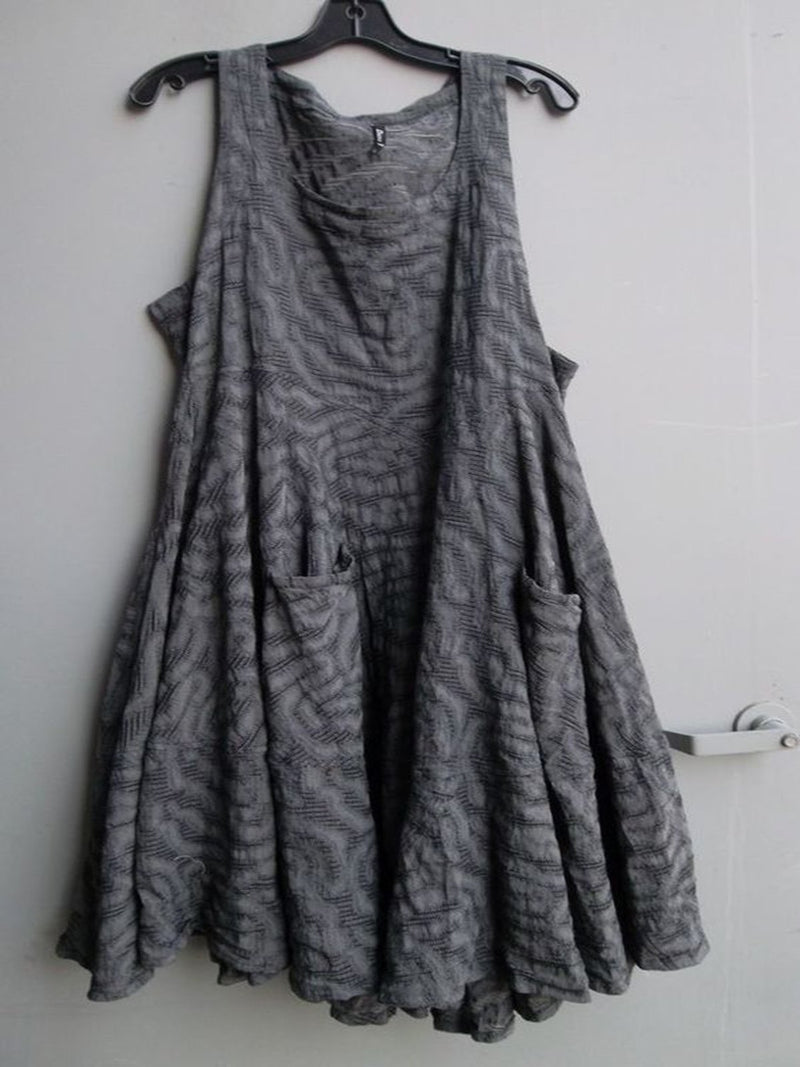 Women Gray Vintage Cotton Jacquard Sleeveless Dresses