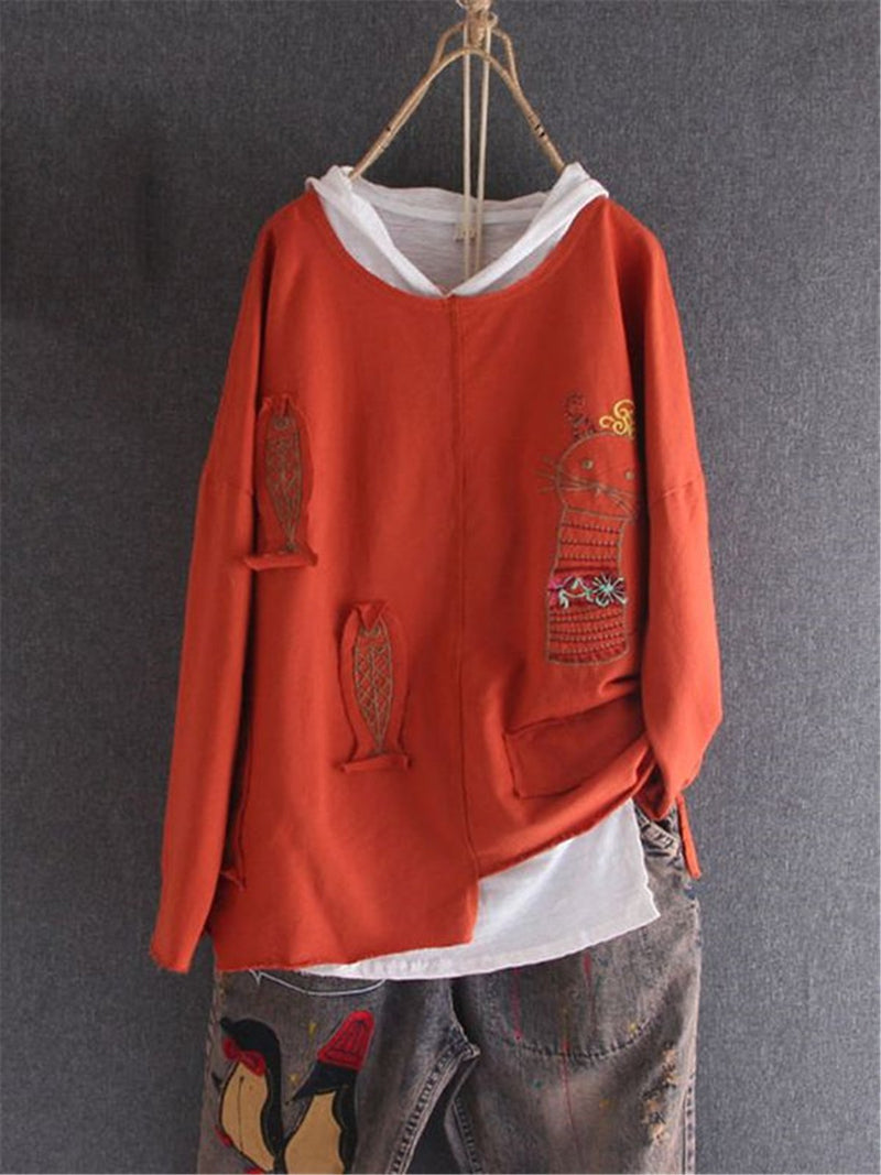 Casual embroidery Cotton-Blend Long  Sleeve Shirts & Tops