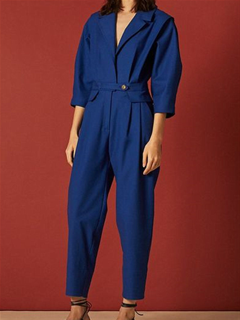 Casual Basic Daily Street Style Long Sleeve Jumpsuit