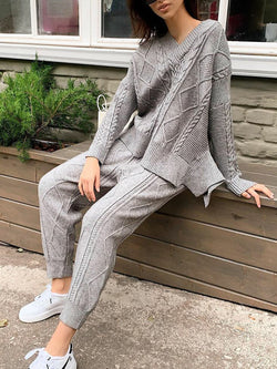 Vintage Knitted Long Sleeve Suits