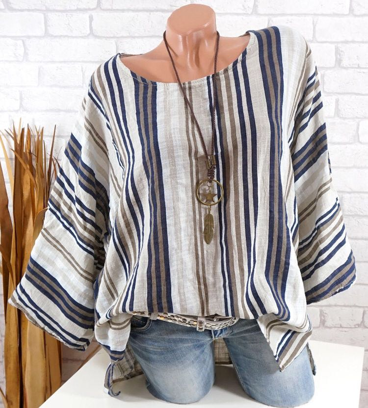 Women Causal Striped 3/4 Sleeve Tops Crew Neck Casual Color-Block Blouse