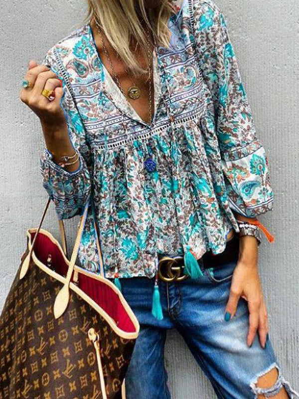 V Neck Floral Long Sleeve Casual Tops