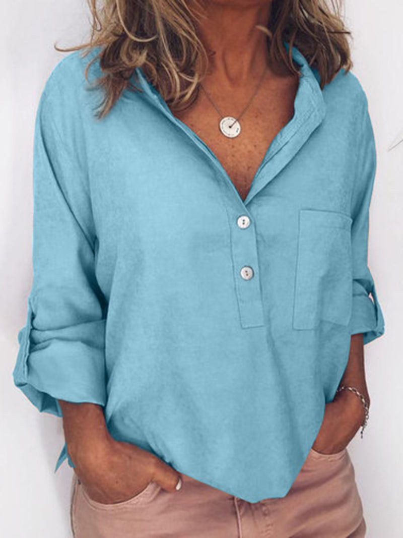 Women Solid Color Long Sleeve Line Casual Shirt