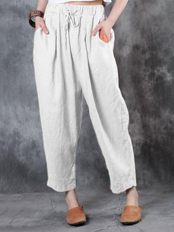 Plus Size Cotton Line Solid Color Pants