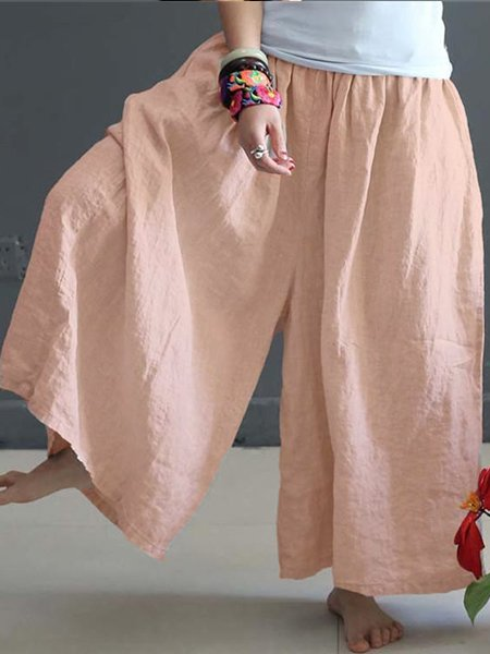 Soft Summer Loose Linen Wide Leg Pants