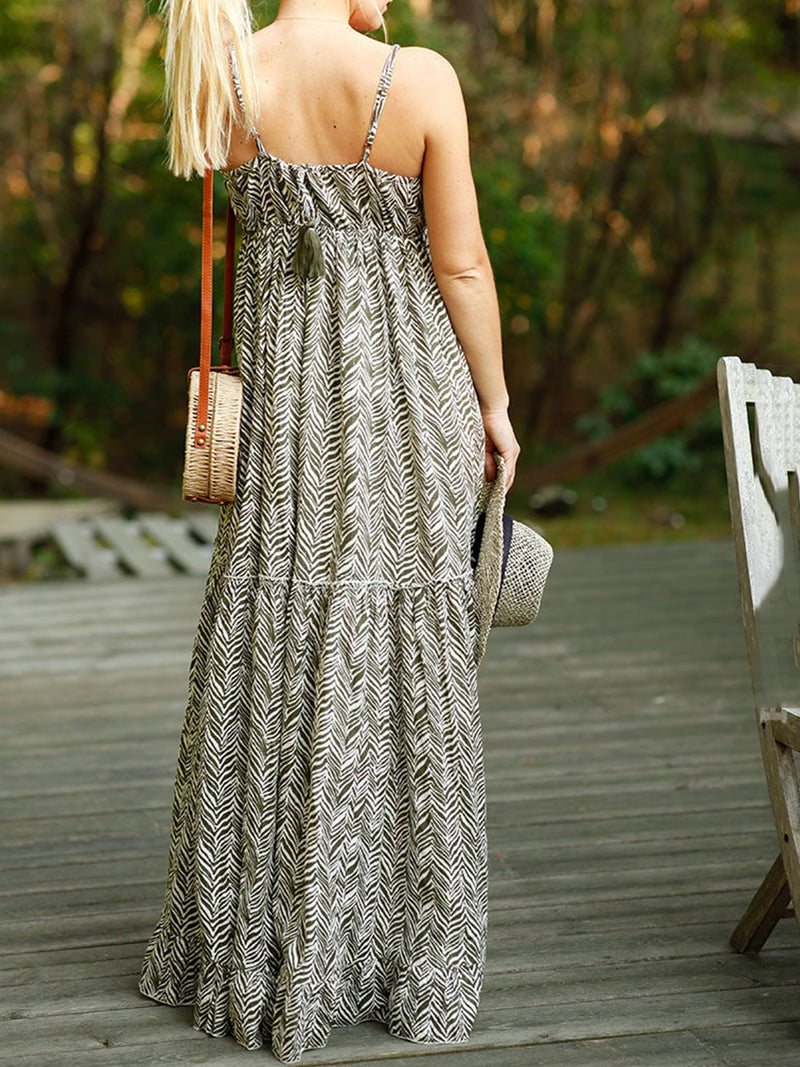 Sleeveless Printed Chiffon Casual Dresses
