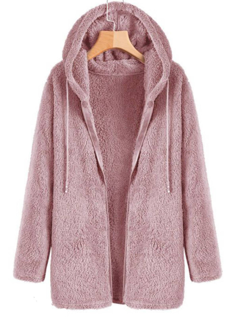 Pink Casual Cotton-Blend Hoodie Outerwear