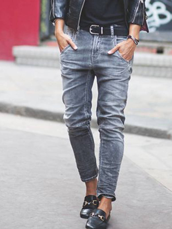 Gray Denim Casual Pants