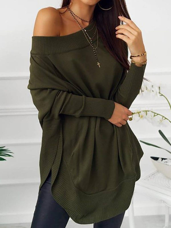 Army Green Crew Neck Casual Cotton Plain Shirts & Tops