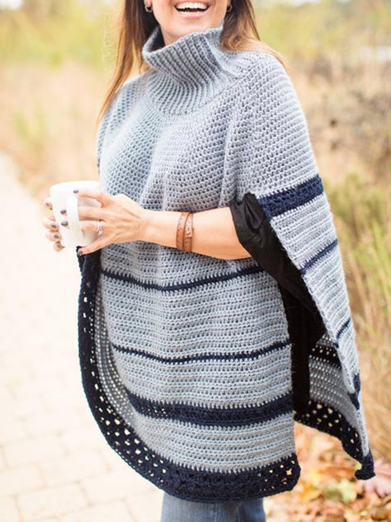 Light Gray Boho Stripes Turtleneck Knitted Sweater