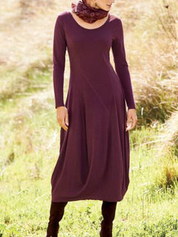 Wine Red A-Line Long Sleeve Cotton-Blend Round Neck Dresses