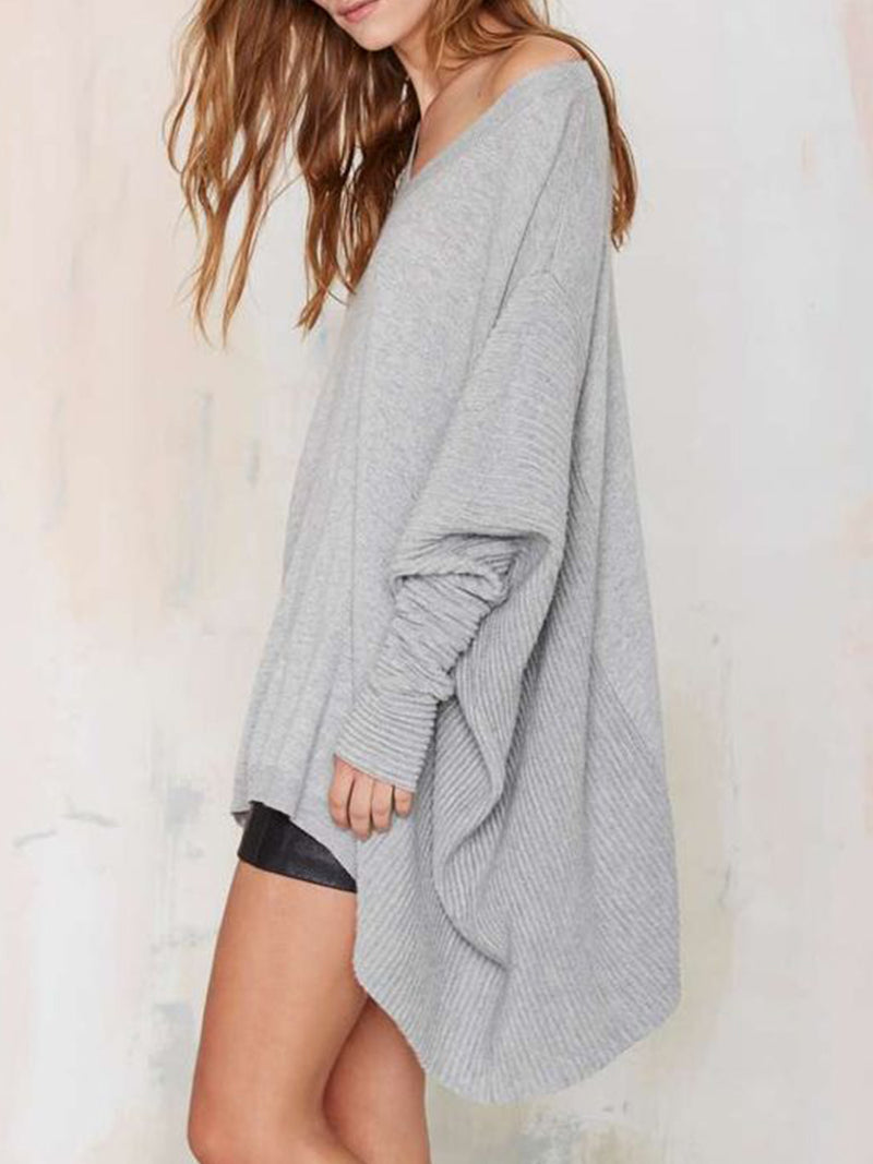 Light Gray Long Sleeve V Neck Knitted Patchwork Sweater