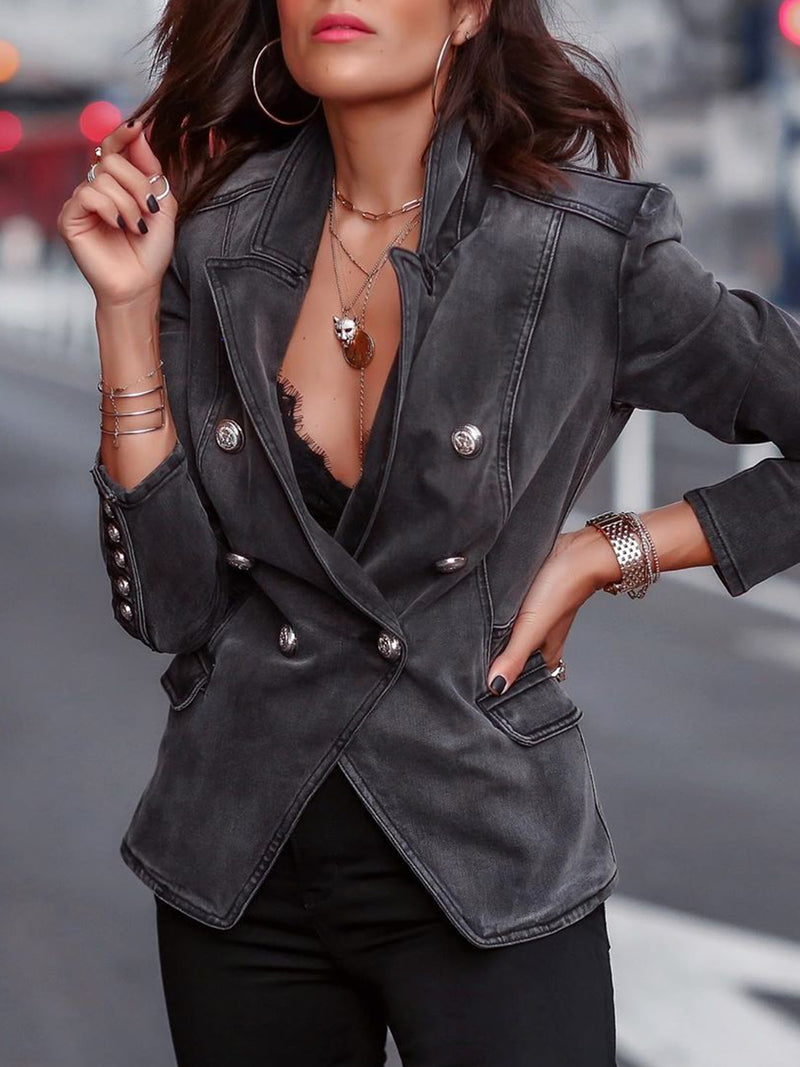Denim jacket street style plus size Casual Buttoned Denim Outerwear