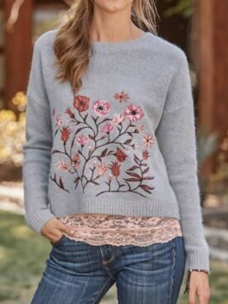 Plus Size Casual Crew Neck Knitted  Long Sleeve Sweater