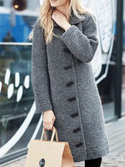Casual Buttoned Solid Long Sleeve Coat