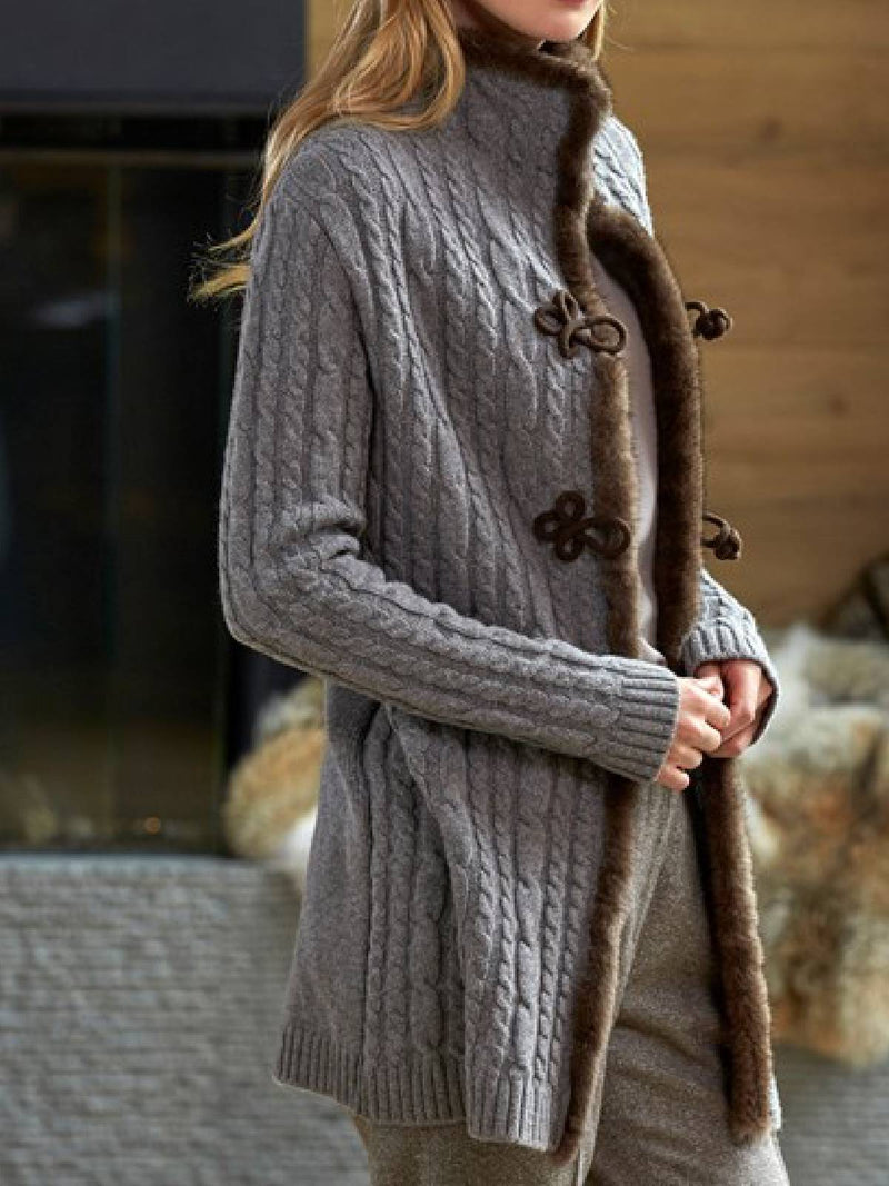 Gray Lapel Buttoned Long Sleeve Knitted Outerwear