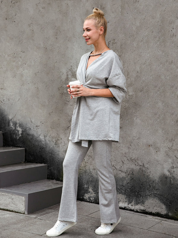 Plain Cotton-Blend V Neck Long Sleeve Suits