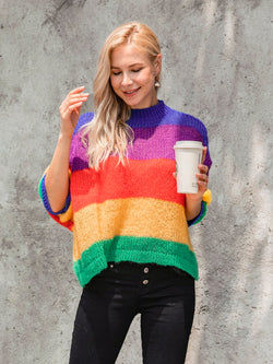 Multicolor Sweet Knitted Ombre/tie-Dye Sweater