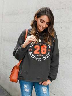 Letter Crew Neck Long Sleeve Cutout Shirts & Tops