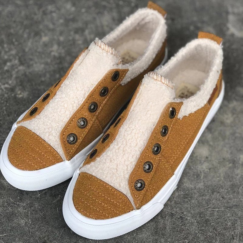 Women Casual Comfy Daily Faux Suede Slip On Sneakers